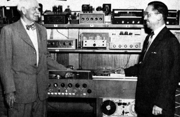 Lee de Forest (L), the man who invented the voltage-amplifier tube, takes in the state-of-the-art in consumer audio reproduction c. 1953.